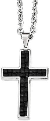 FINE JEWELRY Mens Stainless Steel Leather Inlay Cross Pendant