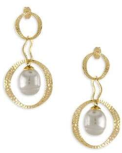 Majorica Artisian Hammered Gold& Pearl Drop Earrings
