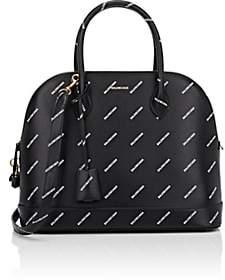 Balenciaga Women's Ville Logo Leather Bowling Bag - Black