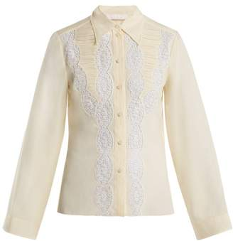 Chloé Lace Silk Blouse - Womens - Ivory