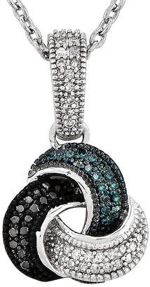 FINE JEWELRY 1/5 CT. T.W. White and Color-Enhanced Black and Blue Diamond Sterling Silver Love Knot Pendant Necklace