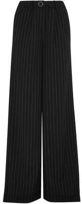 Thierry Mugler Striped Wool-Blend Wide-Leg Pants