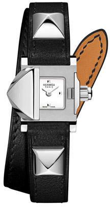 Hermes 16mm Medor Mini Watch w/ Black Leather Strap