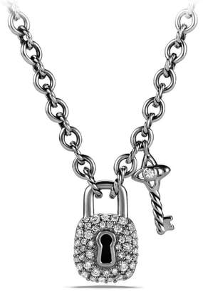 David Yurman 'Cable Collectibles(R)' Lock and Key Charm Necklace with Diamonds