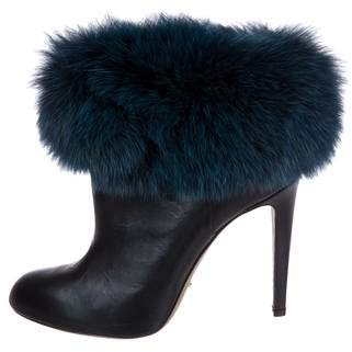 Sergio Rossi Fox-Trimmed Ankle Boots