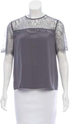 CAMI NYC Lace-Accented Short Sleeve Top