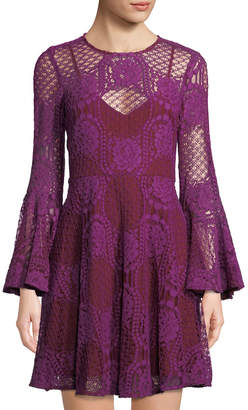 Donna Morgan Lace Bell-Sleeve Mini Dress