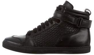 Ami Alexandre Mattiussi Woven Leather High-Top Sneakers