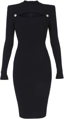 Balmain Cutout Rib-Knit Midi Dress Size: 34