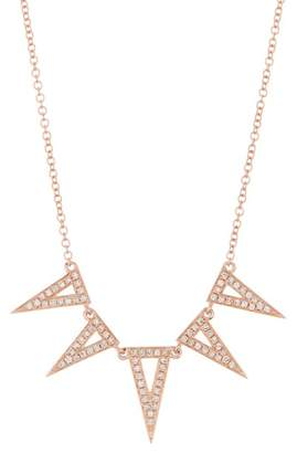 Ef Collection 14K Rose Gold 5 Triangle Diamond Pave Necklace - 0.61 ctw