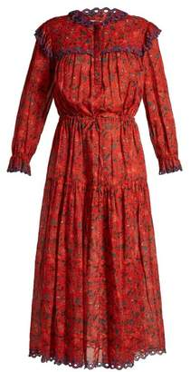Etoile Isabel Marant Eina Embroidered Floral Print Midi Dress - Womens - Red