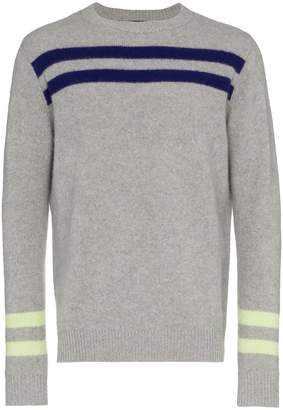 The Elder Statesman grey cashmere heavy space stripe sweater