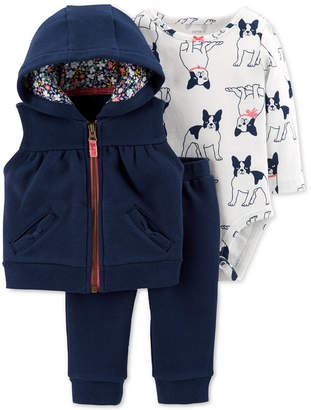 Carter's Baby Boys 3-Pc. Dog-Print Bodysuit, Vest & Pants Set
