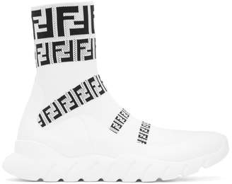 Fendi White Forever Knit High-Top Sneakers