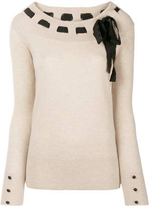 Blumarine bow detail sweater
