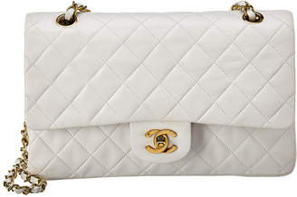 Chanel White Quilted Lambskin Leather Medium Double Flap Bag