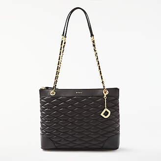 DKNY Nappa Leather Quilted Medium Tote Bag, Black