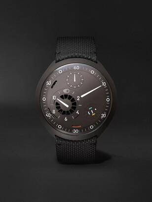 Ressence - Type 2A Mechanical 45mm Titanium and Leather Watch with Smart Crown Technology - Men - Black