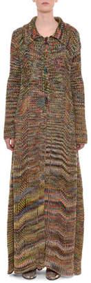 Missoni Multicolor Button-Front Long Wool Coat