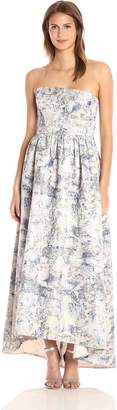 Vera Wang Women's Strapless Printed Jacquard High Low Ballgown