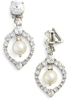 Miu Miu 'Classic' Crystal & Faux Pearl Drop Earrings