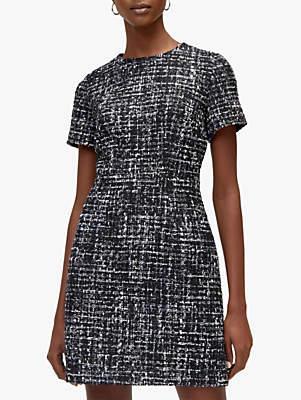 Short Sleeve Tweed Dress, Monochrome
