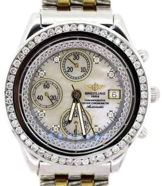 Breitling Two Tone Chronographe With Diamond Bezel Mens Watch