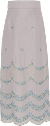 Luisa Beccaria Mermaid Embroidered Broadcloth Midi Skirt