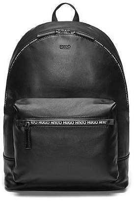 HUGO BOSS Smooth-leather backpack with printed waterproof zip