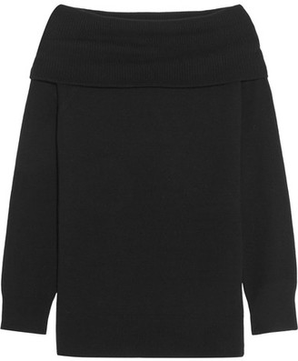 T by Alexander Wang - Off-the-shoulder Wool And Cashmere-blend Sweater - Black $375 thestylecure.com