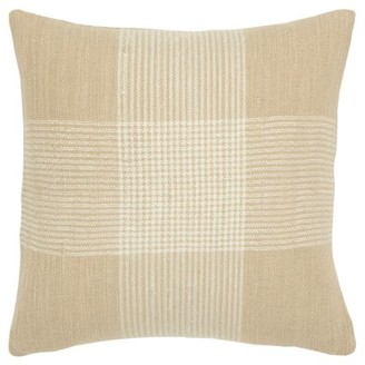 """Rizzy Home Decorative Throw Pillow Cover Plaid 20""""X20"""" Natural"""