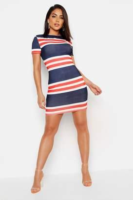 boohoo Nautical Stripe Rib Slash Neck Mini Dress