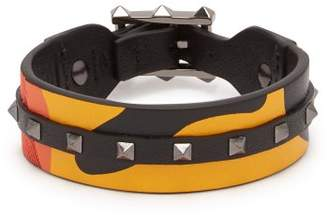 Valentino Rockstud Camouflage Leather And Canvas Bracelet - Mens - Orange