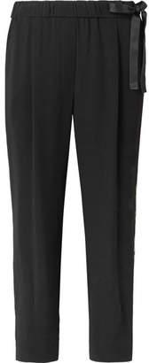 Brunello Cucinelli Bead-embellished Striped Crepe Track Pants - Black