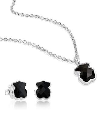 Tous Sterling Silver Teddy Bear Necklace & Earrings Set