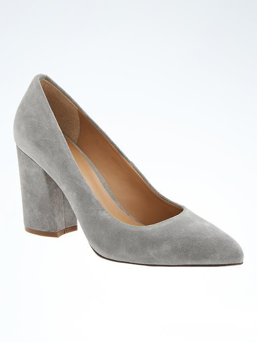 Almond Toe Block Heel Pump