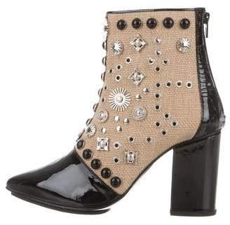 Toga Raffia Embellished Ankle Boots w/ Tags