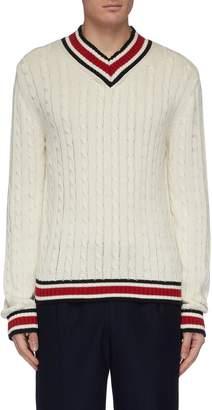 Rue De Tokyo 'Kensito' stripe border cable knit V-neck sweater