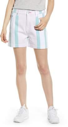Tommy Jeans High Waist Stripe Denim Mom Shorts