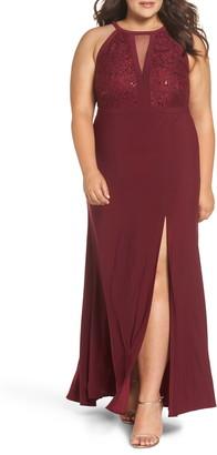 Morgan & Co. Illusion Sparkle Lace & Knit Gown