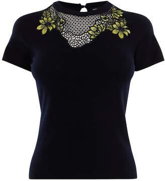 Karen Millen Floral Lace Knit Top