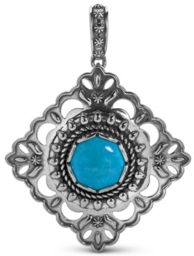 American West Turquoise Concha Pendant Enhancer in Sterling Silver