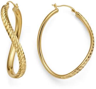 FINE JEWELRY Gold Opulence 14K Gold Over Diamond Resin Diamond-Cut Wave Hoop Earrings