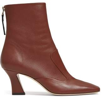 Fendi Ffreedom Square Toe Leather Ankle Boots - Womens - Brown