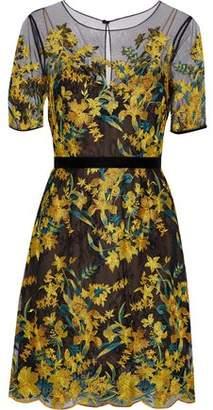 Marchesa Velvet-Trimmed Embroidered Tulle Dress