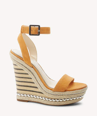 Jessica Simpson Women's Alinda Ankle Strap Platform Wedges Tangerine Size 5 Leather From Sole Society