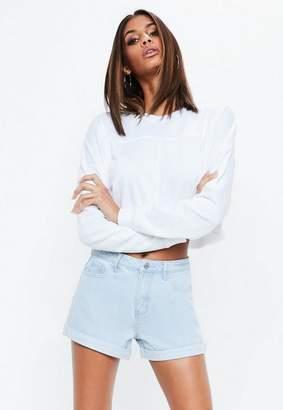 Missguided Blue High Waisted Turn Up Hem Denim Shorts
