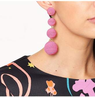 Kenneth Jay Lane Pink Thread Wrapped Ball Pierced Earrings