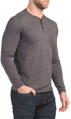 Solid Inject Slub Long Sleeve Henley Top