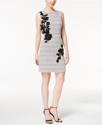 Betsey Johnson Floral-Applique Sheath Dress $148 thestylecure.com